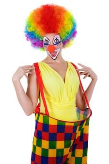 Clown drôle isolé sur blanc