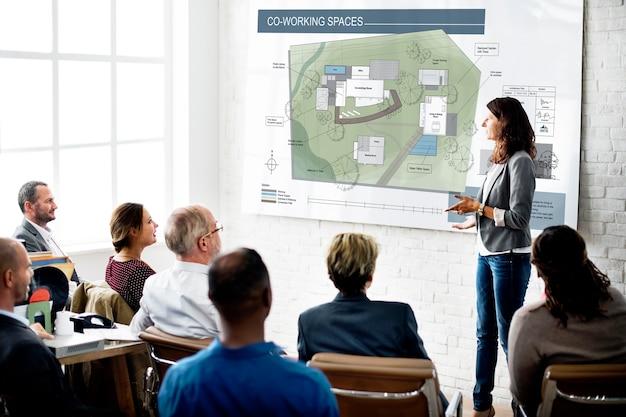 Co espace de travail plan d'architecture plan blueprint design concept