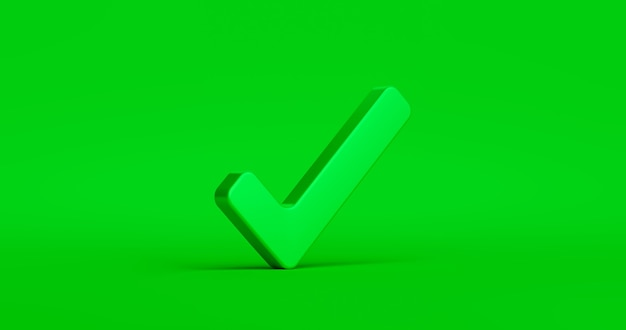 Cochez le bouton de l'icône de coche et le symbole oui ou approuvé sur la confirmation de l'arrière-plan de la liste de contrôle des signes corrects avec la boîte de réussite de l'accord. rendu 3d.
