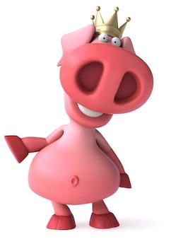 Cochon amusant avec animation de la couronne
