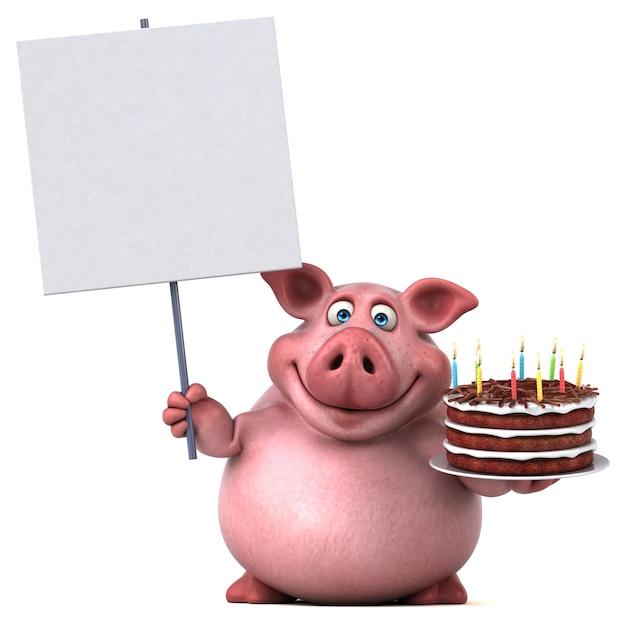 Cochon amusant - illustration 3d