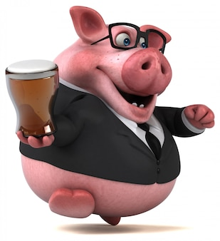 Cochon amusant - illustration 3d