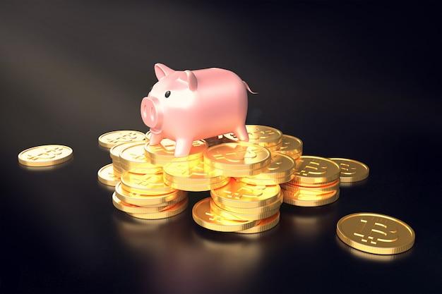 Cochon sur un tas d'illustrations 3d bitcoins