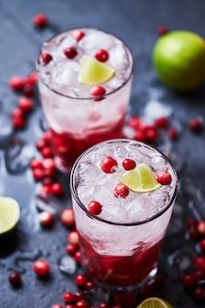 Cocktail alcoolisé avec vodka, jus de canneberge et glace. deux cocktails cape codder dans des verres casablanca, garnis de citron vert et de canneberges fraîches.