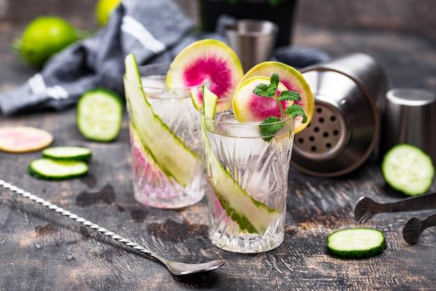 Cocktail au concombre et radis