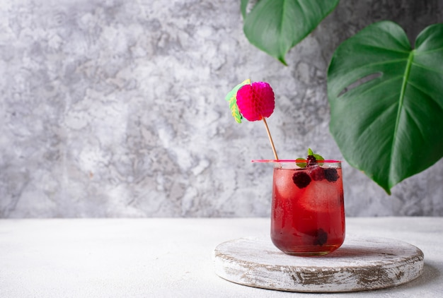 Cocktail d'été à la mûre et à la glace