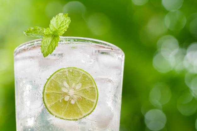 Cocktail frais avec tranche de citron vert et menthe sur fond flou bokeh vert.
