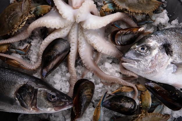 Cocktail de fruits de mer crus, image d'arrière-plan gros plan
