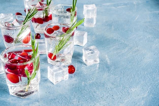 Cocktail d'hiver aux canneberges et au romarin