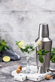 Cocktail de martini au citron vert et menthe