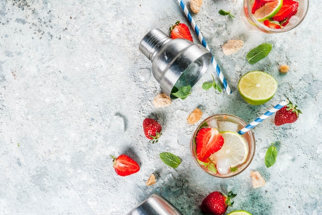 Cocktail mojito aux fraises