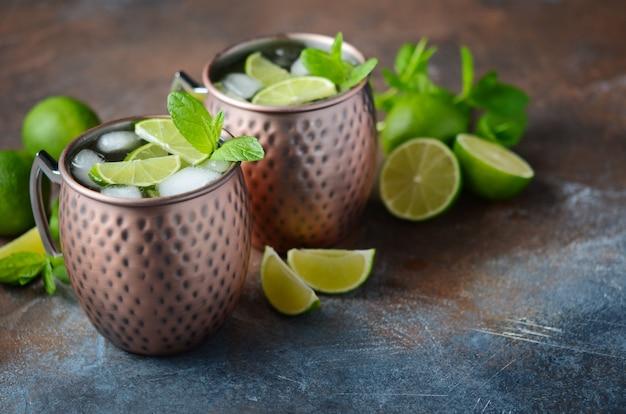 Cocktail mulet à la bière de gingembre, vodka, citron vert et menthe dans un mug