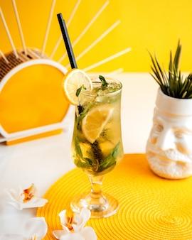 Cocktail d'orange avec vue latérale à la menthe