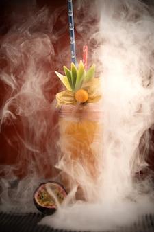 Cocktails fraîchement faits maison pour la fête dans un bar en gros plan