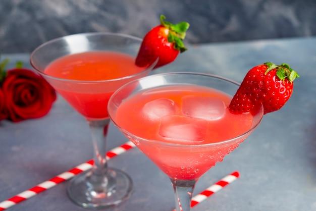Cockteil de fraise pour scène romantinc close up