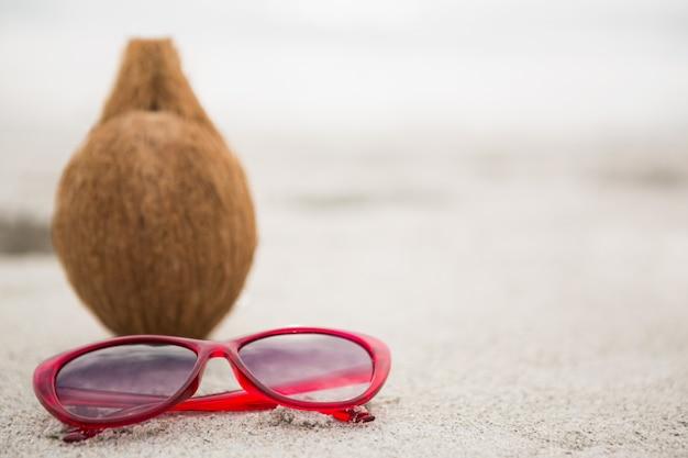 Coconut et un sunglass conservés sur le sable