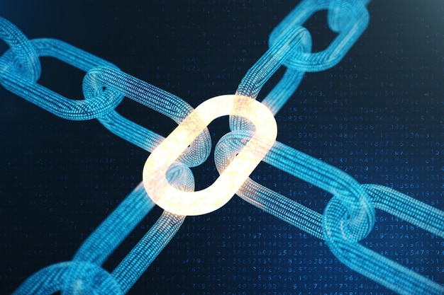 Code de chaîne de bloc numérique illustration 3d. grille polygonale basse de triangles brillant dans le réseau de points bleus, abstrait. concept de réseau, communication internet