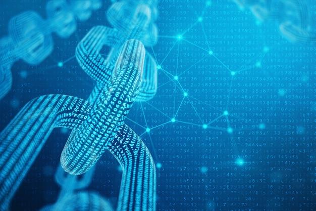 Code de chaîne de bloc numérique illustration 3d. grille polygonale basse de triangles brillant dans le réseau de points bleus