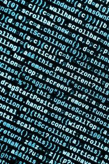 Code javascript dans l'éditeur de texte. codage du concept de cyberespace. écran de code en développement web