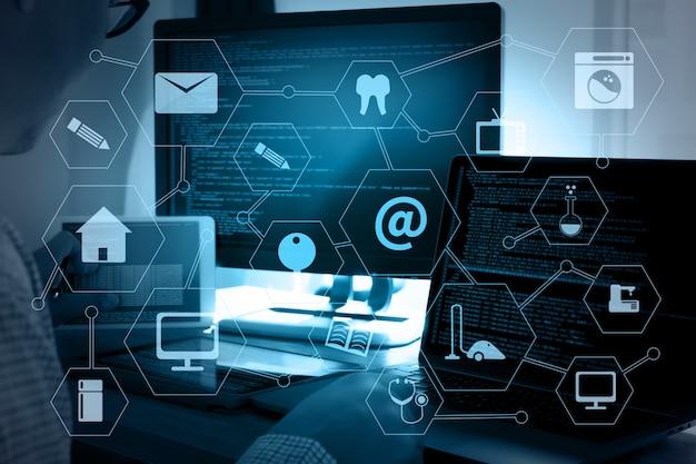 Code de programmation abstrait technologie background développeur de programmation et développeur de logiciel de technologie de codage et script informatique