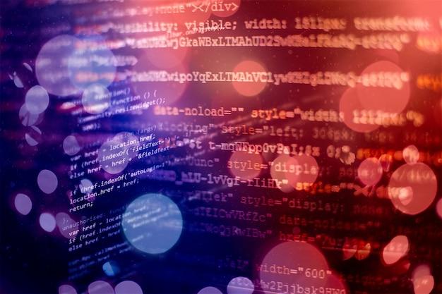 Code de programmation développeur. code de script informatique abstrait. écran de code de programmation du développeur de logiciels. temps de travail de programmation de logiciels.