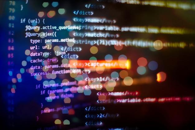Code de programmation de développeur de logiciels. code de script informatique abstrait.