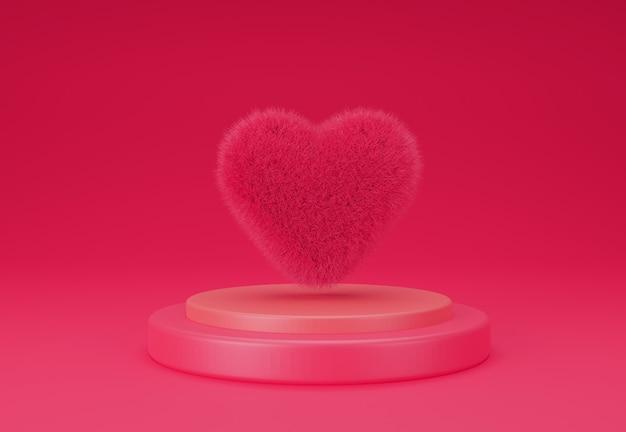 Coeur 3d montrant sur un podium pour le concept de la saint-valentin illustration de rendu 3d.