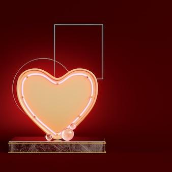 Coeur abstrait jaune avec des figures géométriques sur rouge foncé