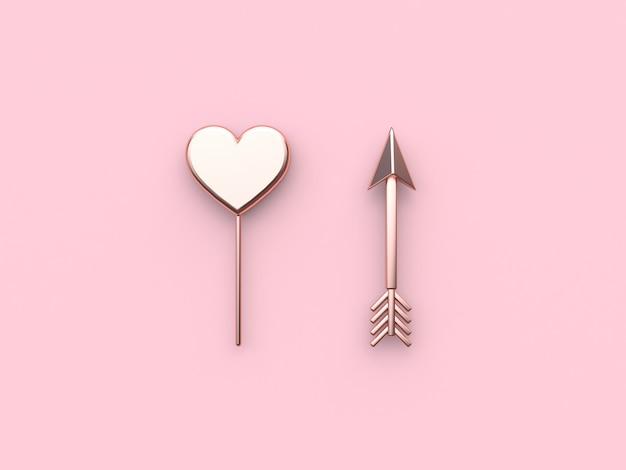 Coeur abstrait métallique rose flèche fond rose saint-valentin. rendu 3d