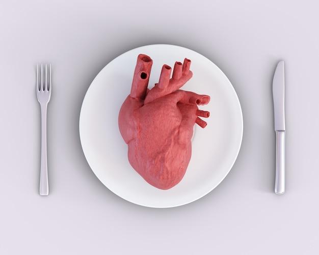 Coeur anatomique sur assiette avec couteau et fourchette