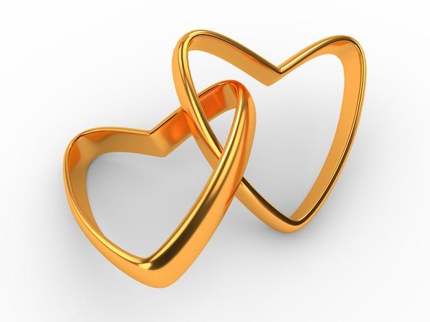 Coeur avec anneaux isolé sur blanc