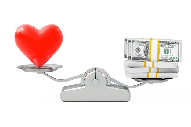 Coeur avec de l'argent en équilibre sur une échelle de pondération simple sur un fond blanc. rendu 3d.