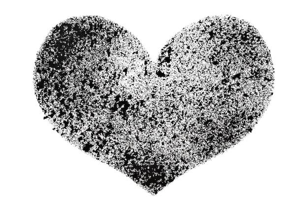Coeur au pochoir noir isolé sur fond blanc - illustration raster