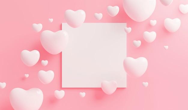 Coeur blanc avec cadre blanc sur fond rose avec copie espace rendu 3d