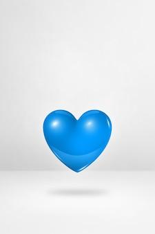 Coeur bleu 3d isolé sur fond de studio blanc. illustration 3d