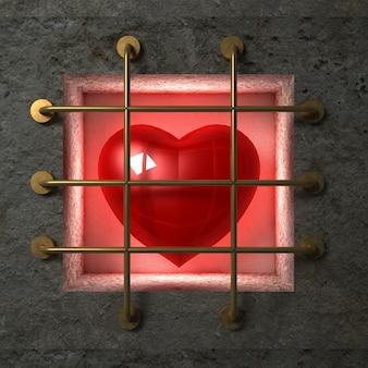 Coeur brillant rouge derrière des barres d'or dans le mur de béton.