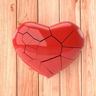 Coeur brisé en bois