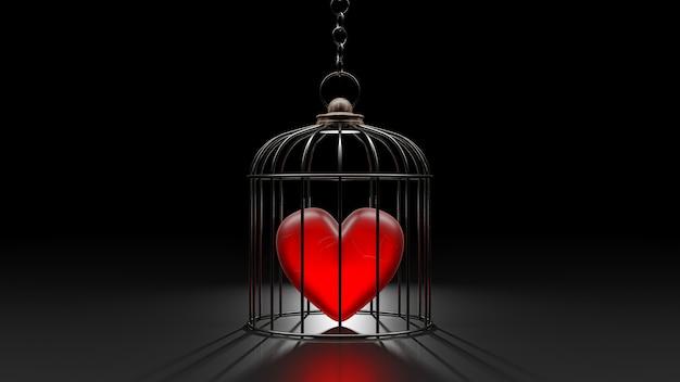 Le cœur brisé est enfermé dans une cage.