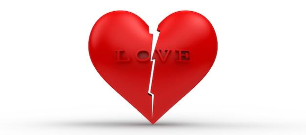 Cœur brisé, rendu 3d coeur rouge et lettre amour est brisé sur fond blanc isolé