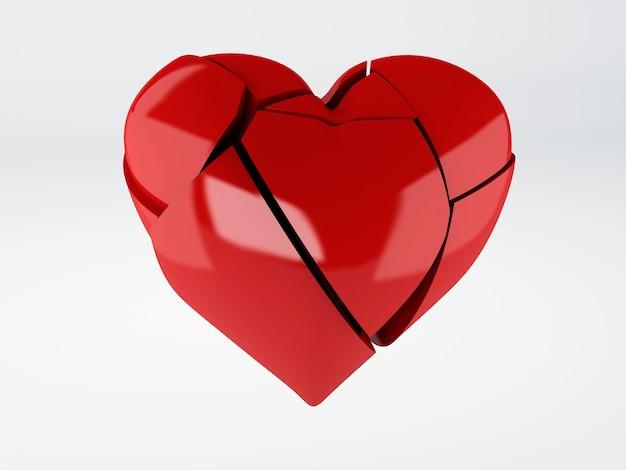 Coeur brisé rouge om fond blanc
