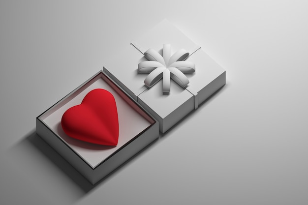 Coeur cadeau dans une boîte