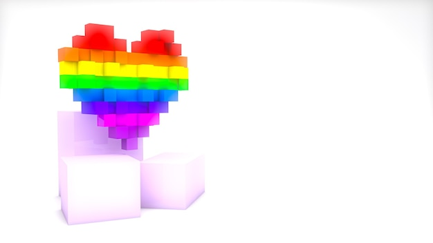 Coeur coloré de pixel de rendu 3d avec des cubes isolés sur fond blanc avec espace de copie