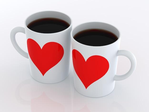 Coeur sur deux tasses de café. isolé sur fond blanc.
