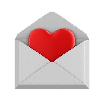 Coeur en enveloppement sur fond blanc. illustration 3d isolée