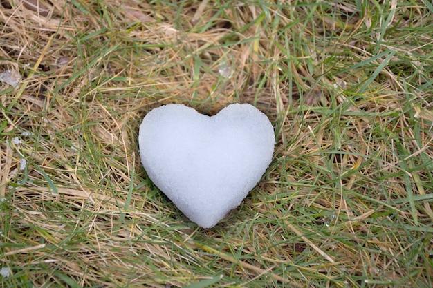 Un coeur fait de neige portant sur l'herbe verte vue de dessus à plat