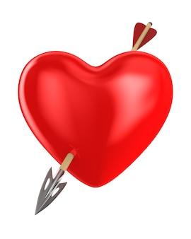 Coeur et flèche sur espace blanc