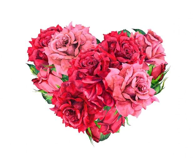 Coeur floral avec des fleurs roses rouges. aquarelle pour la saint-valentin