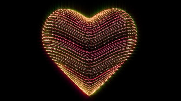 Coeur flottant amour valentine concept rendu 3d