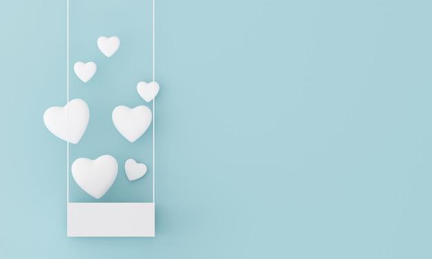Le cœur flotte hors de la boîte blanche sur un fond bleu clair pastel. concept doux de la saint-valentin.