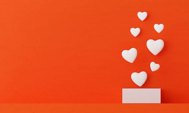 Le cœur flotte hors de la boîte blanche sur fond orange. concept doux de la saint-valentin.